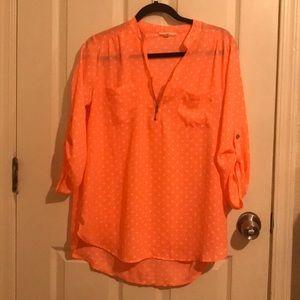 Coral polkadot blouse